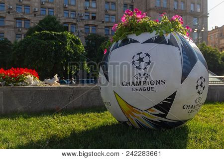 Kiev, Ukraine - May 24, 2018: Flower Bed In The Form Of A Ball With An Official Logo Of The Uefa Cha