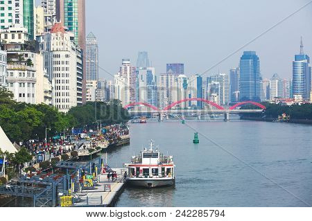 Beautiful Wide-angle Aerial View Of Guangzhou , Guangdong, China With Skyline And Scenery Beyond The
