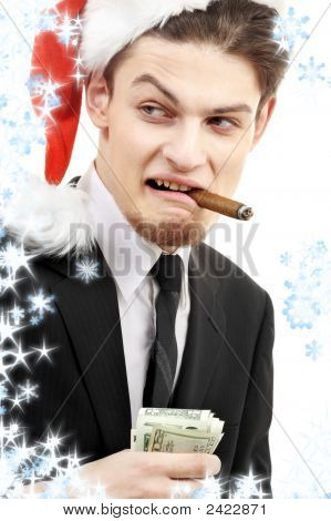 corporate suit man playing bad santa with snowflakes poster