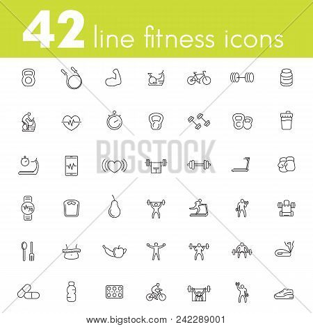 Fitness, Workout, Gym Icons Pack, 42 Line Pictograms Isolated On White