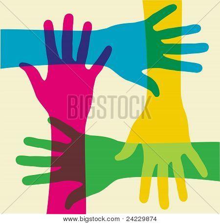 Trabajo en equipo multicolor