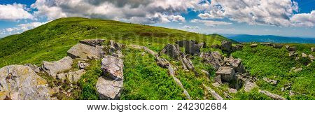 Panorama Of Runa Mountain With Rocks On Hillside. Gorgeous Landscape Of Amazing Carpathian Mountains
