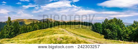 Gorgeous Panorama Of Svedovets Mountain Ridge. Country Road Runs In To The Distance Through Grassy M