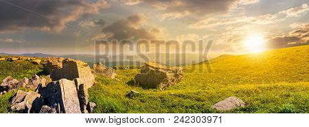 Beautiful Panorama Of Runa Mountain At Sunset. Huge Rocky Formation On The Hillside And Peak In The