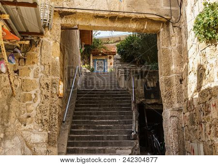 Acre, Israel - March 23, 2018: Nerrow Street In The Old City Of Akko