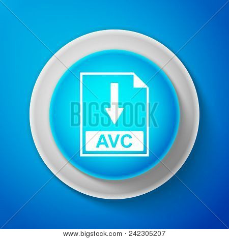 White Avc File Document Icon Isolated On Blue Background. Download Avc Button Sign. Circle Blue Butt