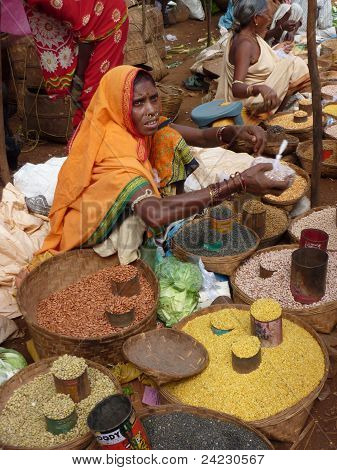 Tribal Woman Sells Lentils And Pulses