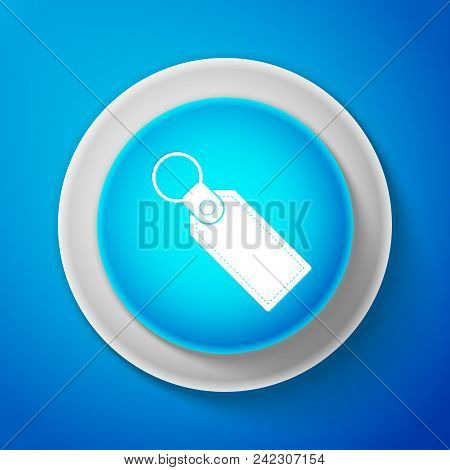 White Rectangular Key Chain With Ring For Key Icon Isolated On Blue Background. Circle Blue Button W