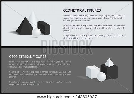 Geometrical Figures Set Of Posters With Text Sample, Square Pyramid, Sphere And Cube, Geometrical Fi