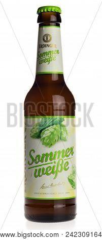 Groningen, Netherlands - December 19, 2017: Bottle Of Erdinger Sommer Weisse Beer Isolated On A Whit