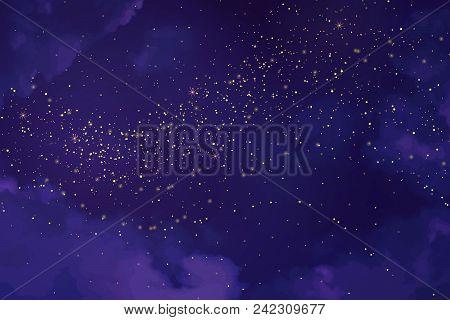 Magic Night Ultraviolet Sky With Sparkling Stars. Gold Glitter Powder Splash Vector Background. Gold