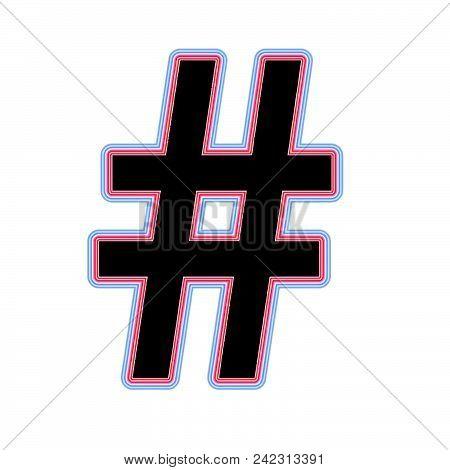 Black Red Blue Hashtag Web Symbol On White Background. Social Net Icon. Vector Illustration