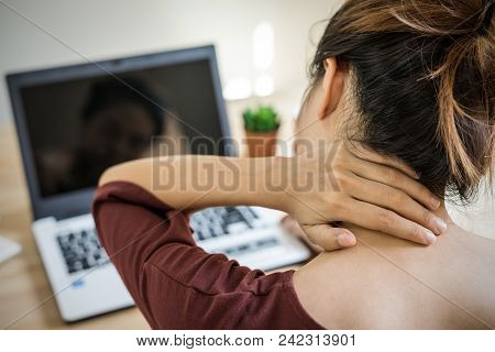 Young Woman Working At Home And Having Neck Pain,  Healthcare And Problem Concept Office Syndrome