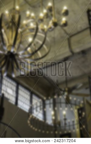 Blur Background Of Antique Light Vintage Style Room, Stock Photo