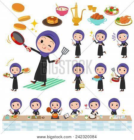Set Of Various Poses Of Arab Women_cooking