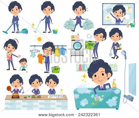 Set Of Various Poses Of Navy Blue Suit Perm Hair Men_housekeeping