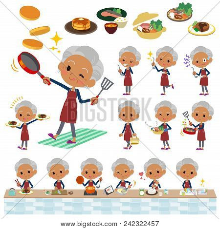 Set Of Various Poses Of Navy Cardigan Old Women Black_cooking