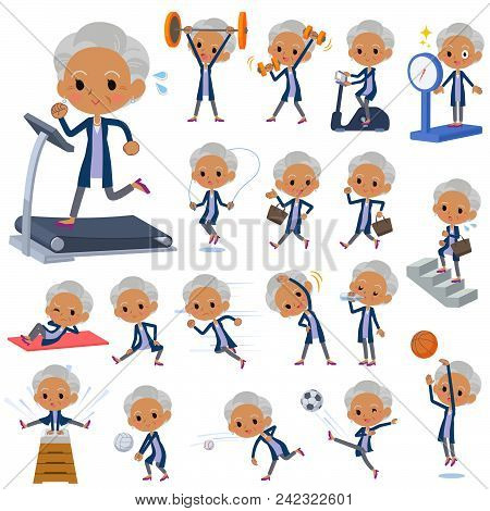 Set Of Various Poses Of Navy Cardigan Old Women Black_sports & Exercise