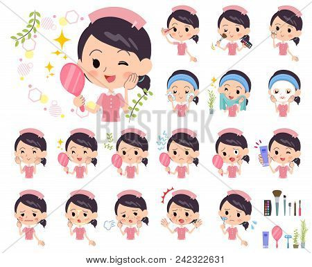 Set Of Various Poses Of Nurse Wear Women_beauty