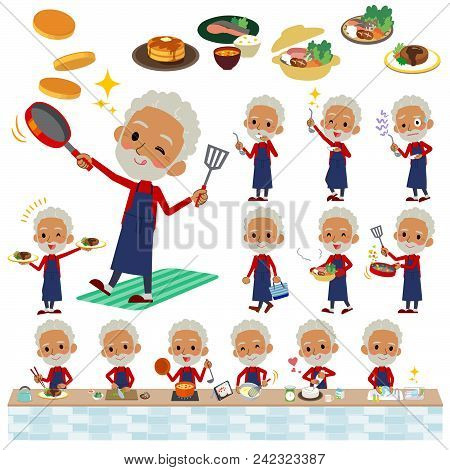 Set Of Various Poses Of Red High Neck Old Man Black_cooking