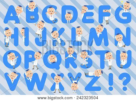 Set Of Various Poses Of Research Doctor Old Men_a To Z