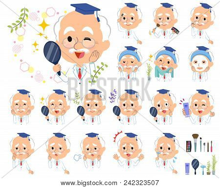 Set Of Various Poses Of Research Doctor Old Men_beauty