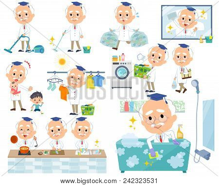 Set Of Various Poses Of Research Doctor Old Men_housekeeping