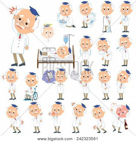 Set Of Various Poses Of Research Doctor Old Men_sickness