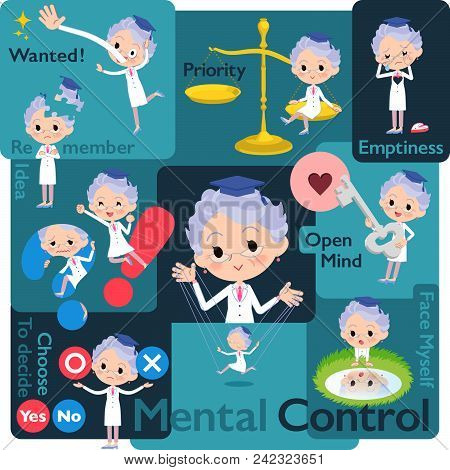 Set Of Various Poses Of Research Doctor Old Women_mental & Volition