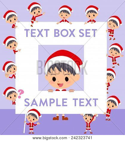Set Of Various Poses Of Santa Claus Costume Boy_text Box