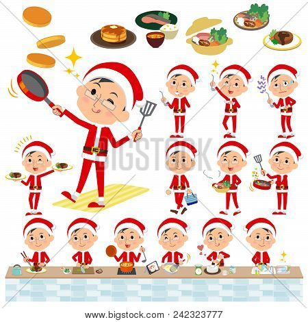 Set Of Various Poses Of Santa Claus Costume Dad_cooking