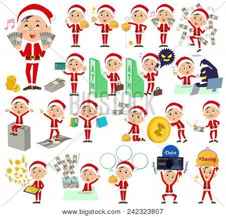 Set Of Various Poses Of Santa Claus Costume Dad_money