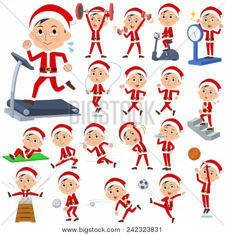 Set Of Various Poses Of Santa Claus Costume Dad_sports & Exercise