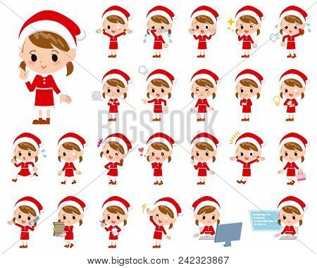 Set Of Various Poses Of Santa Claus Costume Girl_1
