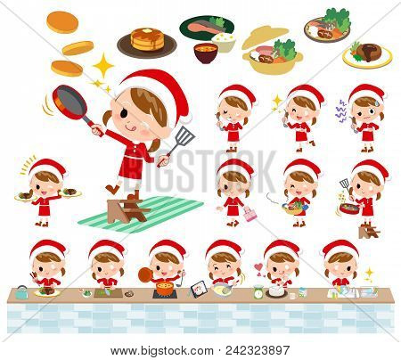 Set Of Various Poses Of Santa Claus Costume Girl_cooking