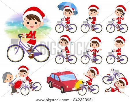 Set Of Various Poses Of Santa Claus Costume Mom_city Bicycle