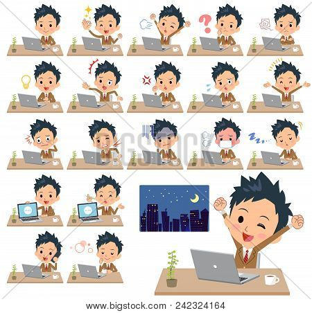 Set Of Various Poses Of School Boy Brown Blazer_desk Work