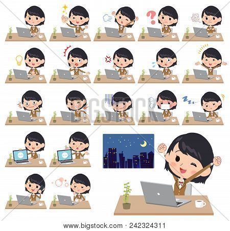 Set Of Various Poses Of School Girl Brown Blazer_desk Work