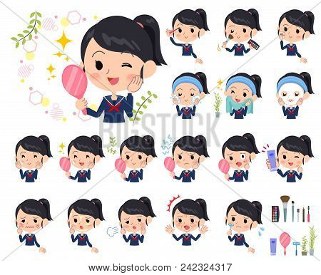 Set Of Various Poses Of School Girl Sailor Suit_beauty