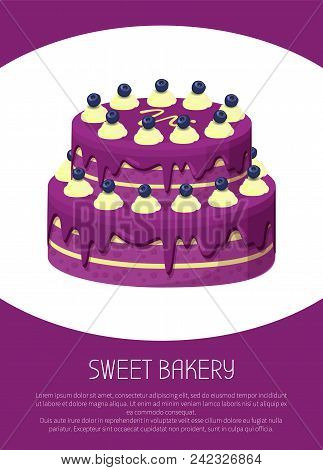 Sweet Bakery Poster With Two-story Cake Covered By Purple Strawberry Jam Topping And Sweet White Cho