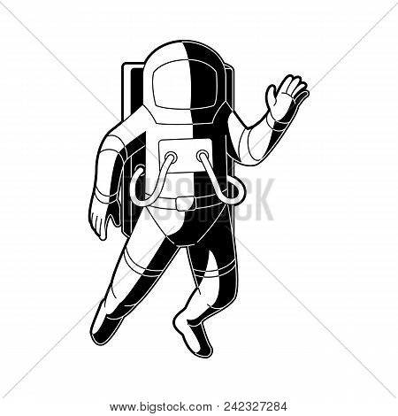 Cosmonaut In Spacesuit Flying In Weightlessness In Outer Space Isolated On White Background. Black A