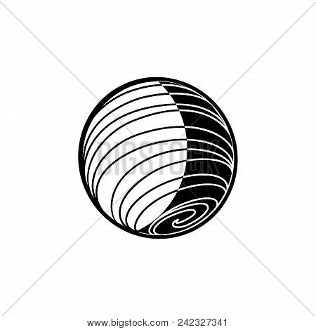 Outer space object - textured planet or star isolated on white background. Black and white celestial body flying in cosmos - vector illustration of astronomical element. poster