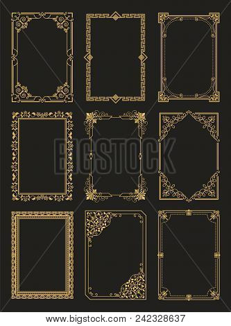 Vintage Frames Collection Golden Borders Isolated On Black Background. Decorative Gold Frames Set Or