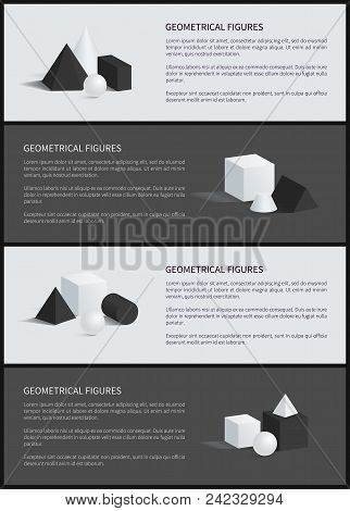 Geometrical Figures Banner Text Sample And Titles, Geometrical Figures And Cone, Cube And Cuboid, Sp