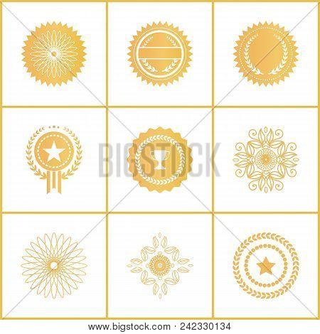 Vector Set Exclusive Golden Stamps Certificate Labels Watermark, Seals With Star, Champion Cap, Laur