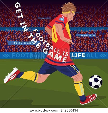 Football Gameplay. Close Up Of Soccer Player Running With Ball In Sport Stadium, Side Back View, Spe
