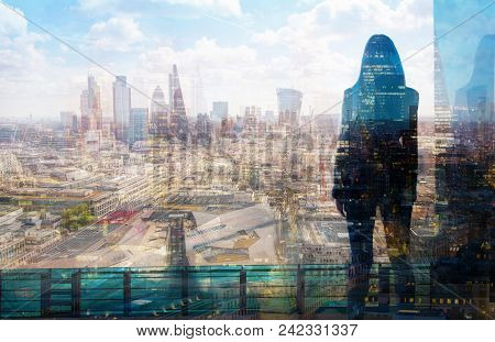 Young Woman Looking At The City Of London, Financial District. Early Morning. Sun Rise. Future, Plan