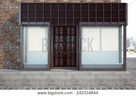 Modern Glass Storefront With Blank Poster. Retail And Commerce Concept. Mock Up, 3d Rendering