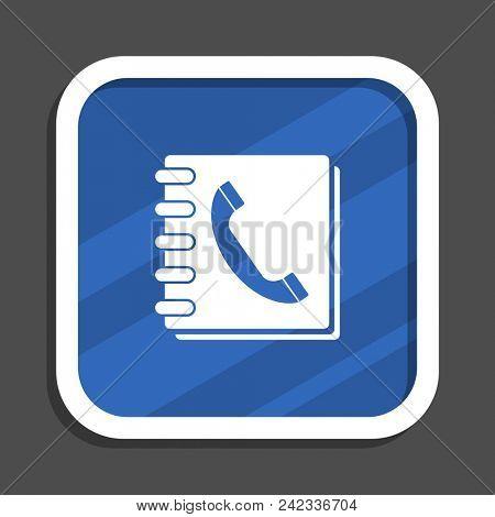 Phonebook blue flat design square web icon