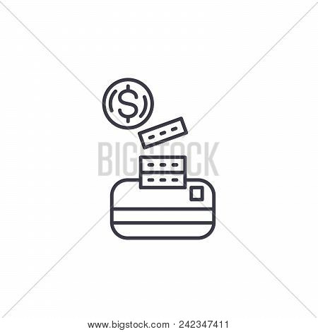 Cash Its Equivalents Line Icon, Vector Illustration. Cash Its Equivalents Linear Concept Sign.